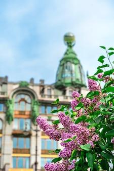 Купол здания зингер под веткой сиреневых цветов в санкт-петербурге