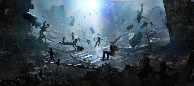 재앙, 디지털 일러스트레이션의 종말 장면.