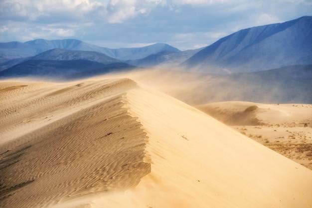 Дюна самой северной пустыни в мире на фоне горных хребтов