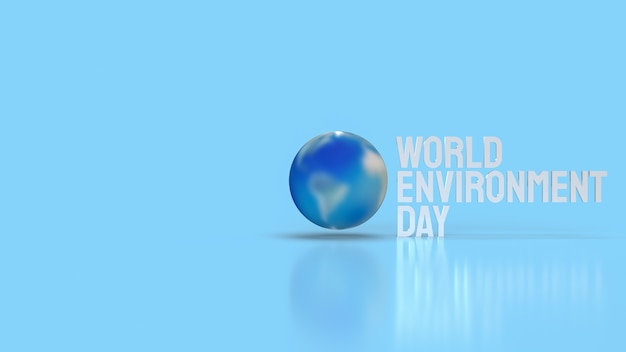 Земля и белое слово для концепции всемирного дня окружающей среды 3d-рендеринга