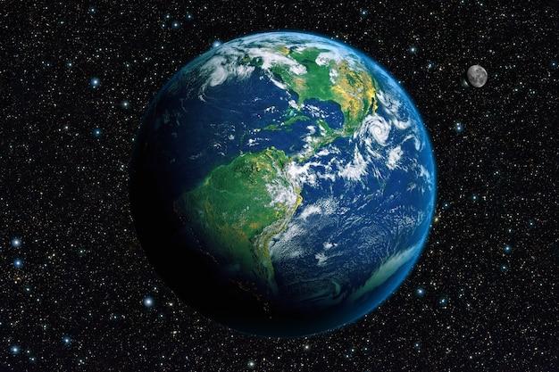 우주에서 지구. 미국