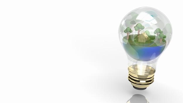 Земля в лампочке для эко концепции 3d-рендеринга.