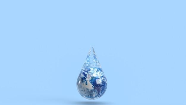 Земля в капле воды для концепции экологии 3d-рендеринга