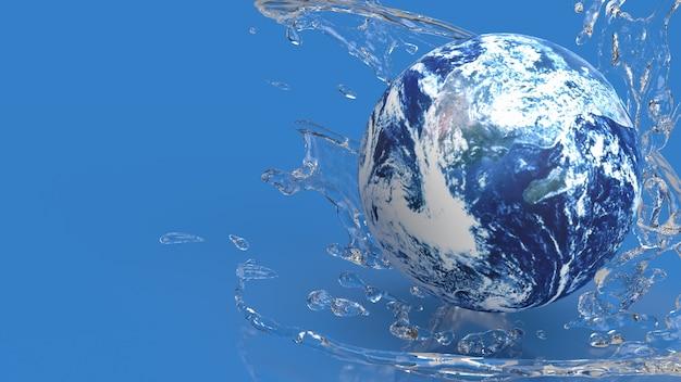 Земля в брызгах воды для концепции экологии 3d-рендеринга