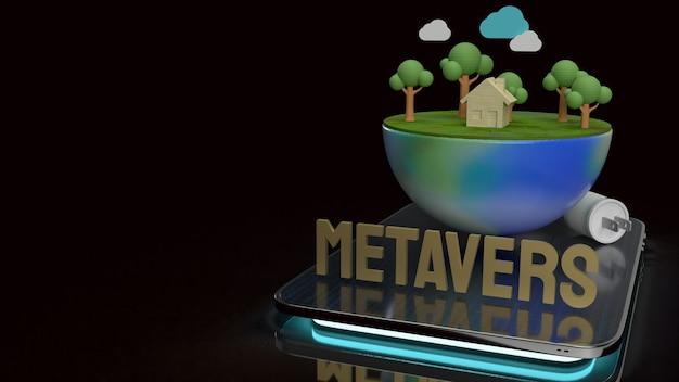 Земля на планшете для 3d рендеринга контента метавселенной
