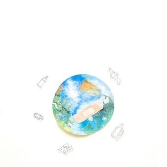 붕대와 쓰레기가있는 지구