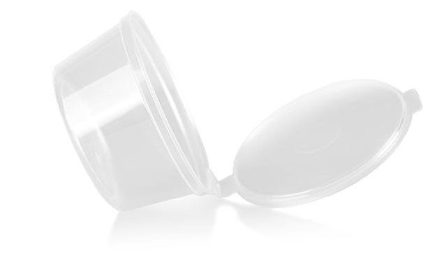 흰색 배경에 고립 된 빈 열린 플라스틱 용기