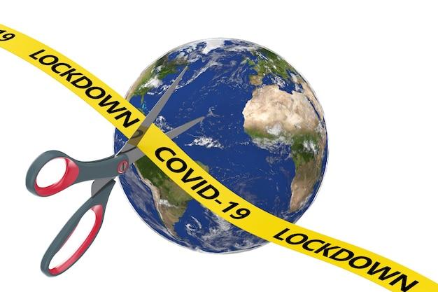 잠금 개념의 끝. 가위는 planete earth world globe 배경에 covid-19 잠금 기호로 노란 리본을 잘라냅니다. nasa에서 제공한 이 이미지의 요소입니다. 3d 렌더링