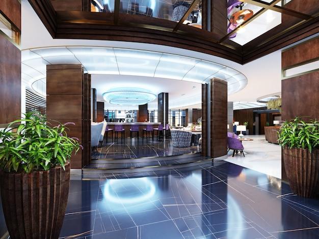 バーの入り口は、モダンなスタイルの高級ホテルのレストランです。 3dレンダリング