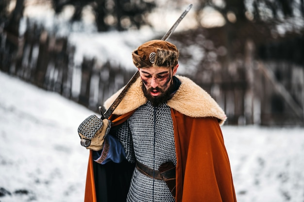 剣と戦う若い戦士の悪感情。冬の城の近くでの戦い