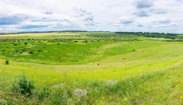 Просторы россии. красивый пейзаж холмов и русской деревни.