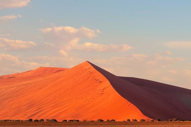 Sossusvlei의 유명한 45개 붉은 사구. 아프리카, 나미브 사막