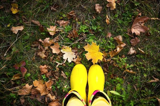 落ち葉のある草の上の黄色いゴム長靴と黄色いズボンの女性の足。秋の気分、小春日和、季節の防護服。テキスト用のスペース