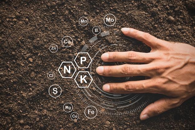 토양의 상징적 인 기술로 식재를위한 비옥 한 양토는 식물의 필수 식품입니다