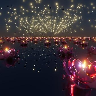 축제에서 광고를 위한 빛 deepavali 배경의 축제 및 축하 장면