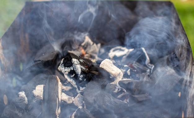 グリルの薪は、自然な緑の背景に明るいオレンジ色の炎で燃えます。自然の中でグリルで肉を調理するための準備。火の炎と煙