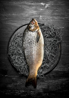 漁網で皿の上の魚。