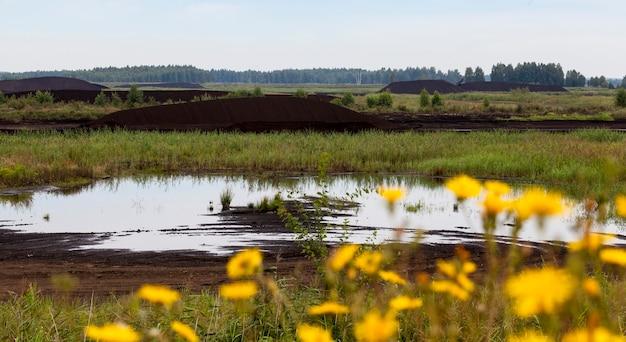 Затопленный участок добычи торфа