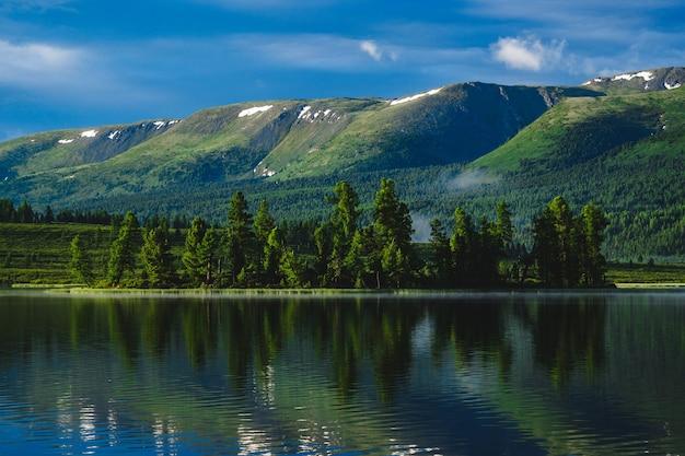 森は、ロシアのアルタイ共和国のウラガンスキー地区にある山の湖の水に反映されています