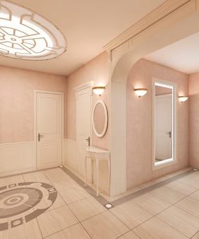 ホワイエはクラシックなスタイルで、大理石の床とベージュの木製の正方形が壁にあります。ビルトインシーリングライト。 3dレンダリング。