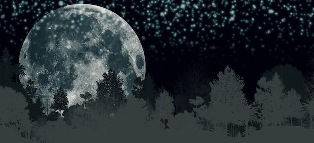 밤에 숲에 보름달 파노라마 산 나무와 달