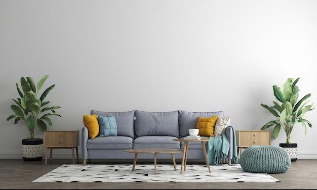 아늑한 인테리어, 아늑한 거실, 스칸디나비아 스타일의 가구 디자인, 3d 렌더링
