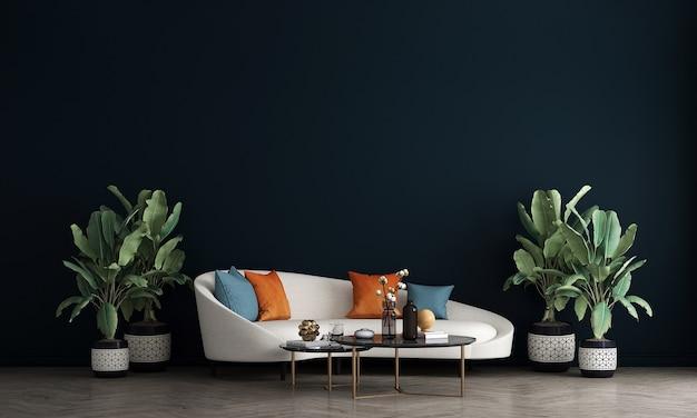 Дизайн мебели в современном уютном интерьере синяя стена, минималистичная гостиная, скандинавский стиль, 3d визуализация,