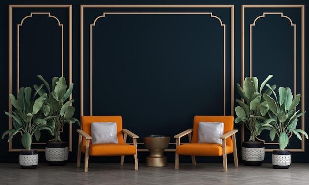 Дизайн мебели в современном уютном интерьере гостиной в скандинавском стиле, 3d визуализация,