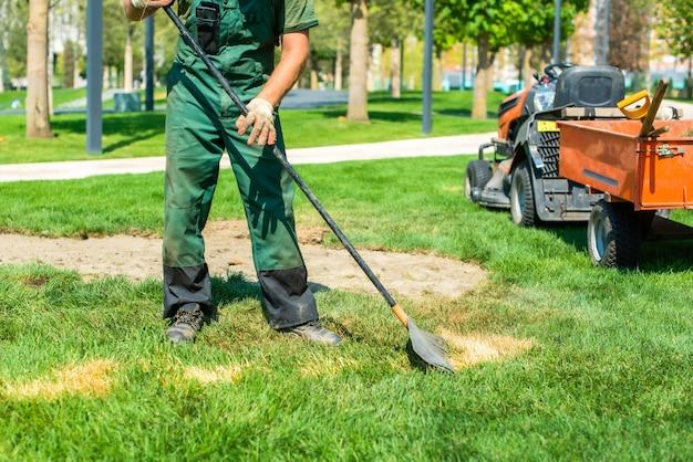 정원사는 잔디밭에서 일합니다. 신선한 풀을 심고 죽은 풀을 제거합니다. 삽과 갈퀴가 트랙터에 있습니다.