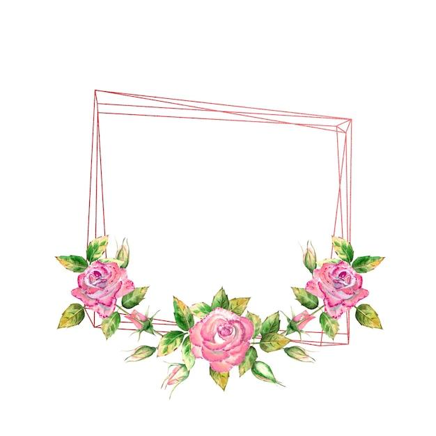 기하학적 프레임은 수채화 꽃 핑크 장미, 녹색 잎, 열리고 닫힌 꽃으로 장식되어 있습니다.