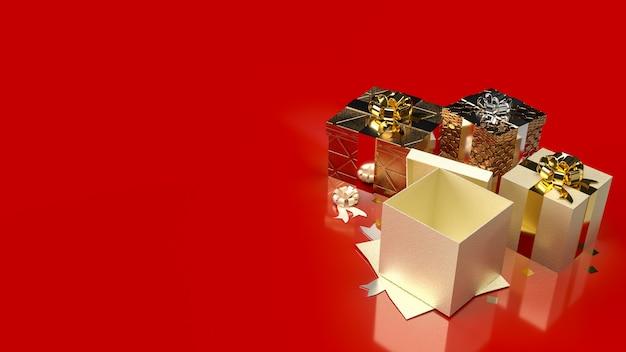 Подарочные коробки на красном фоне для продвижения продажи бизнес-контента 3d-рендеринга