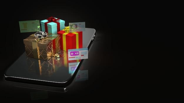 온라인 쇼핑 콘텐츠 3d 렌더링을위한 스마트 폰의 선물 상자