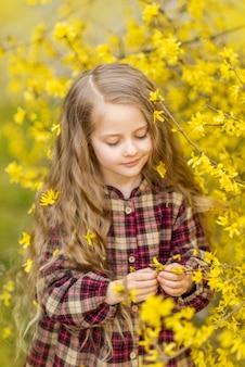女の子は黄色い花を見ます。レンギョウを背景にした子供。彼女の髪に花を持つ子供の春の肖像画