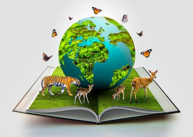 В книге есть земной шар, и рядом с ним есть дикие животные, такие как тигры, олени и бабочки.