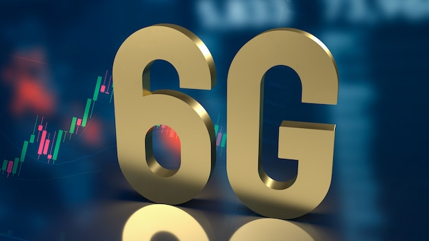 Золото 6g на бизнес-фоне для 3d-рендеринга технологической концепции