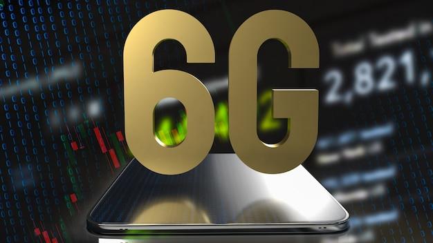 Золото 6g на планшете и бизнес-фон для 3d-рендеринга технологической концепции