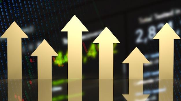 財務概念の3dレンダリングのビジネス背景に金色の矢印