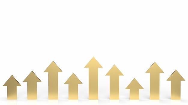 ビジネスコンセプト3dレンダリングの白い背景の上に金色の矢印