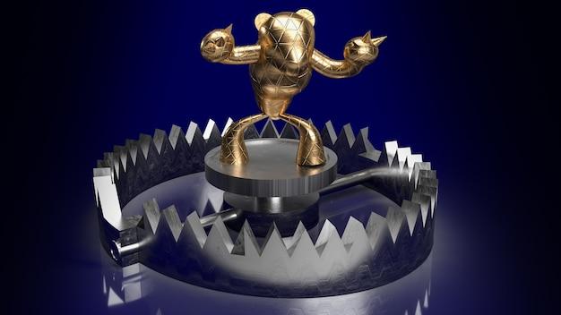 Золотой медведь в ловушке для 3d-рендеринга бизнес-концепции