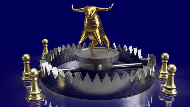 비즈니스 개념 3d 렌더링에 대 한 트랩과 체스에서 금 황소