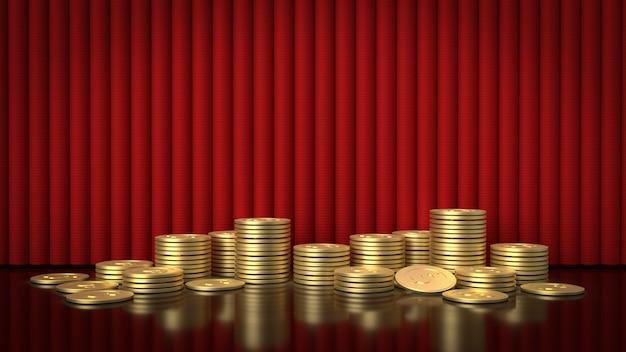 Золотые монеты и красный занавес