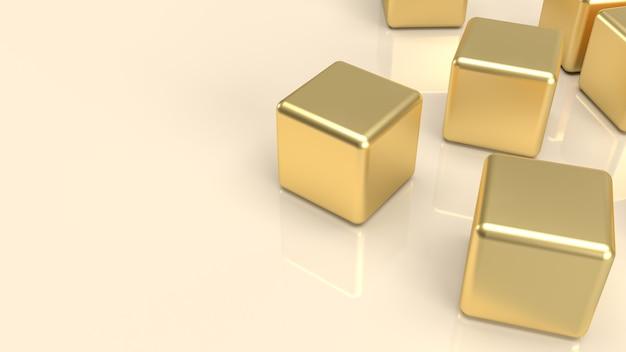 抽象的な背景の概念の3dレンダリングのための白の金色の立方体。