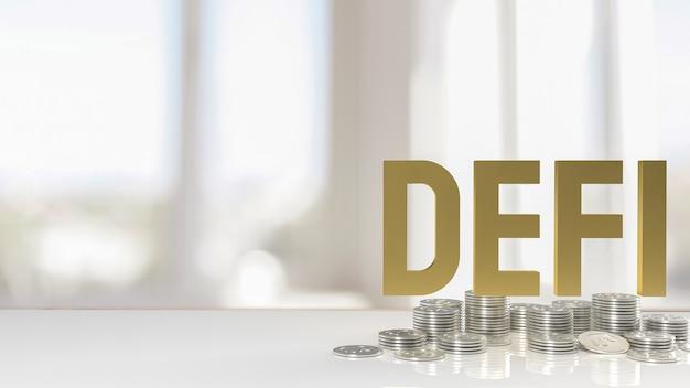 Золотые дефибрилляторы слово и серебряные монеты для бизнеса или концепции криптовалюты 3d-рендеринга.