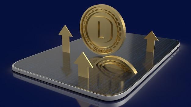 暗号通貨コンテンツの3dレンダリング用のタブレット上のゴールドドージコイン