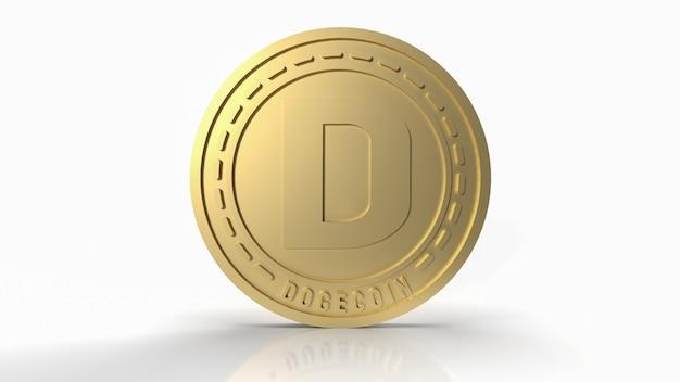 暗号通貨コンテンツの3dレンダリングのための白い背景の上の金のドージコイン