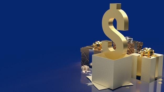 ビジネスコンセプトの3dレンダリングのための金貨のシンボルとギフトボックス。