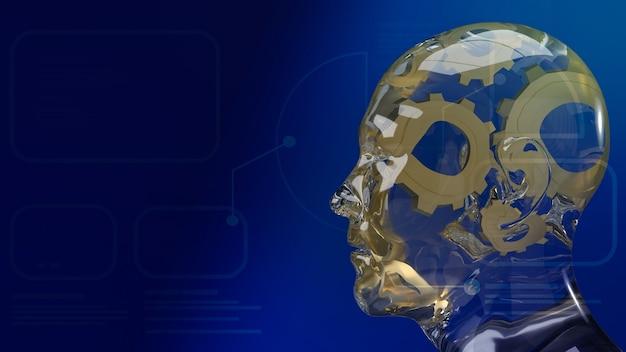 Золотая шестеренка внутри хрустальной головы человека для искусственного интеллекта или машинного обучения для технологической концепции 3d-рендеринга
