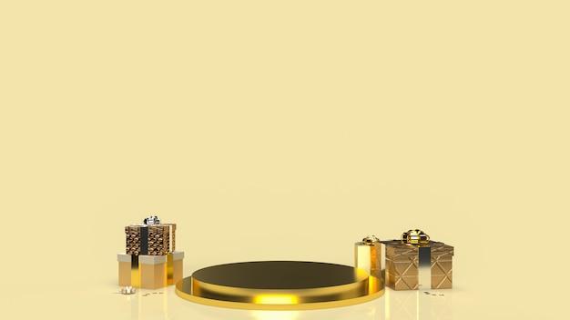 Форма подиума с золотой геометрией для демонстрации продукта и подарочная коробка для 3d-рендеринга данной концепции