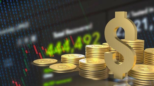 ビジネスチャートの背景3dレンダリングのゴールドゴールドドル記号とコイン
