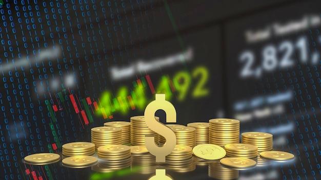 Символ золотой золотой доллар и монеты на фоне бизнес-диаграммы 3d-рендеринга